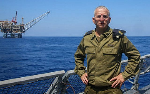 "Ram Rothberg, then the head of the Israeli Navy, poses near Israel's ""Yam Tethys"" offshore gas rig near the coast of Ashkelon. 	(Photo by Flash90)"