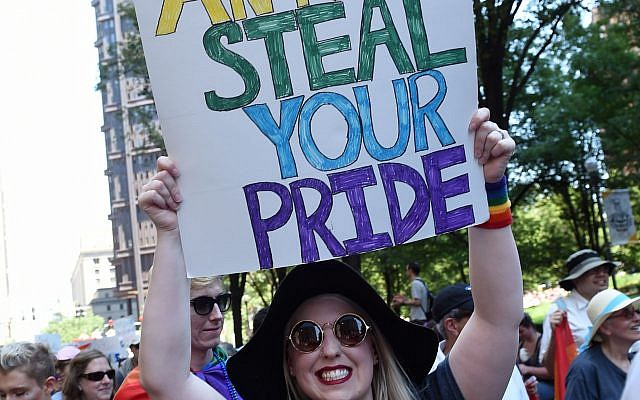 Steffi Ann Wright Shows off her Pride at the EQT Equality March  (Photo by Matt Unger)