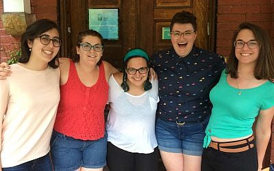 Moishe House residents Becca Michelson, Rose Eilenberg, Jessica Savitz, Carly Chernomorets and Dafna Bliss are all smiles as they pose for a photo.	 (Photo by Toby Tabachnick)
