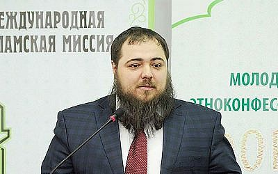 Mosei Yunayev speaks at the International Islamic Mission Forum in Makhachkala, Russia, in March.   (Photo courtesy of the International Islamic Mission)