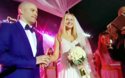 Avi Steinberg and Rachel Dixon were married at the Maccabiah Games' opening ceremony in Jerusalem. (YouTube image)