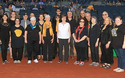 The Temple Sinai Choir sang the National Anthem at PNC Park on Jewish Heritage night. Photo by Dave Arrigo