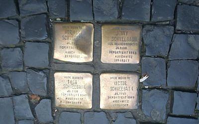 Four stolpersteine in the Berlin-Mitte neighborhood    Photo by Lauren Bairnsfather