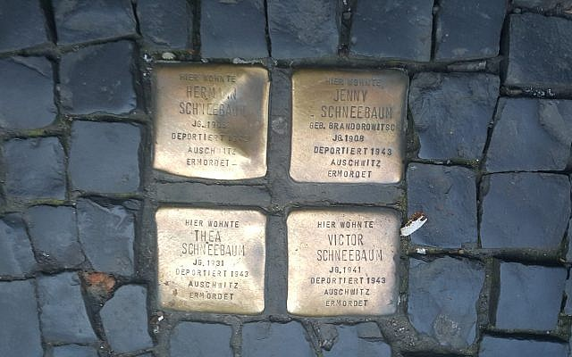Four stolpersteine in the Berlin-Mitte neighborhood    Photo by Lauren Bairnsfather