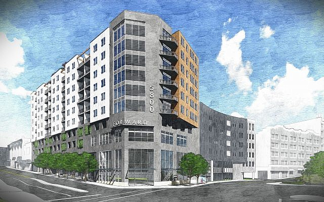 The nine-plus-story building would include 125,000 square feet of residential space. (Art courtesy of Herky Pollock)