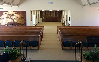 The remodeled sanctuary was designed to be more intimate for the congregation than the previous design below (Photos courtesy of Congregation B'nai Abraham)