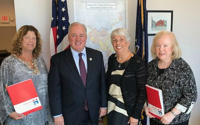 Pittsburgh Hadassah recently visited with Rep. Mike Doyle during a Day in the District program. The program gives participants an opportunity to meet with their federal-elected officials in their home offices to present Hadassah's position on policy issues such as gender equity in medical research and support for the U.S.-Israel relationship. Participating, from left: Barbara Scheinberg, Doyle, Rosalyn Markovitz and Marcia Weiss.   Photo courtesy of Pittsburgh Hadassah