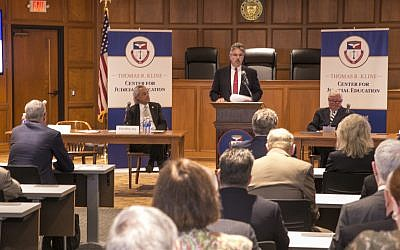 Duquesne University president Ken Gormley announces the Thomas R. Kline Judicial Education Center of the Duquesne University School of Law. Kline is pictured to the left of Gormley.	   Photo courtesy of Duquesne University