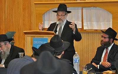 Rabbi Yisroel Rosenfeld, regional director of Chabad of Western PA, offers some thoughts from the podium. 	   Photos by Adam Reinherz