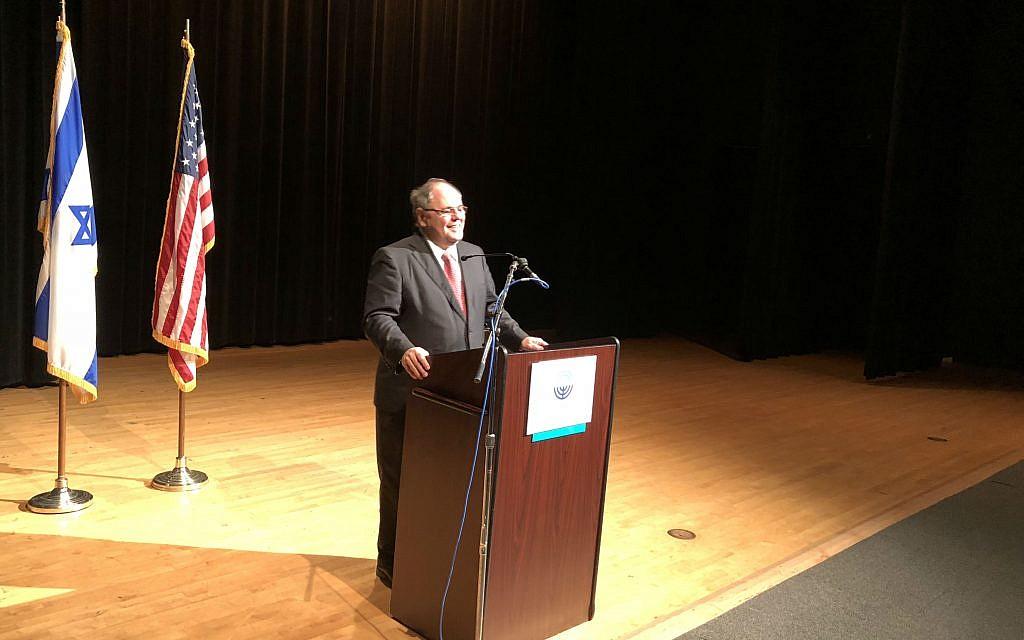 Counsel General Dani Dayan addresses Pittsburgh community members.       Photo by Jim Busis