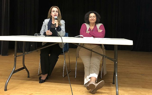 Ghaida Rinawi-Zoabi and Myriam Darmoni Charbit answered questions and discussed segregation and discrimination against Arab citizens of Israel. (Photo by Jim Busis​)