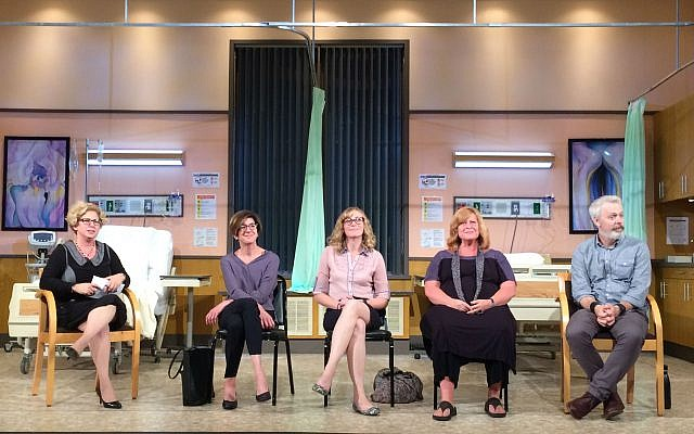 The Jewish Healthcare Foundation, a supporter of City Theatre, sponsored a talkback following the show. From left: JHF's Nancy Zionts, Dr. Yael Schenker, Dr. Sarah Taylor and cast members Kendra McLaughlin and Tim McGeever.     Photo by Toby Tabachnick