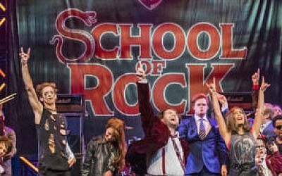 "The original London cast of ""School of Rock"" rocks out. 	     Photo by Tristram Kenton."