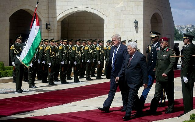 President Donald Trump and Palestinian Authority President Mahmoud Abbas in the West Bank city of Bethlehem in May	    Photo by Flash90
