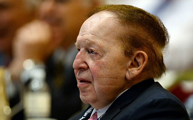 Sheldon Adelson at the Republican Jewish Coalition spring leadership meeting in Las Vegas in 2014. (Photo by Ethan Miller/Getty Images)