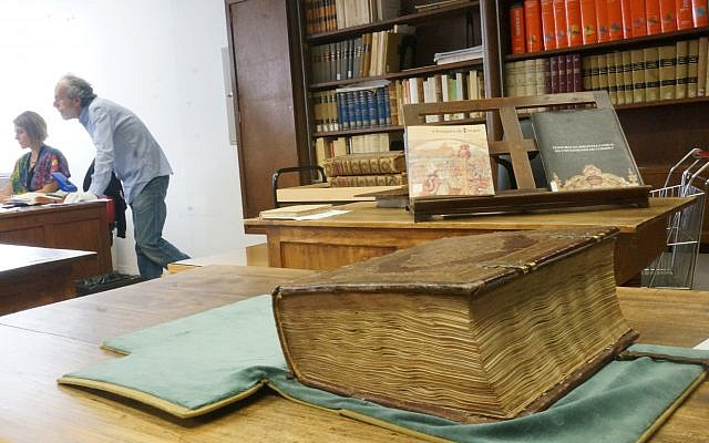 The 15th-century Abravanel Hebrew Bible at Portugal's Coimbra University. (Photo by Cnaan Liphshiz)