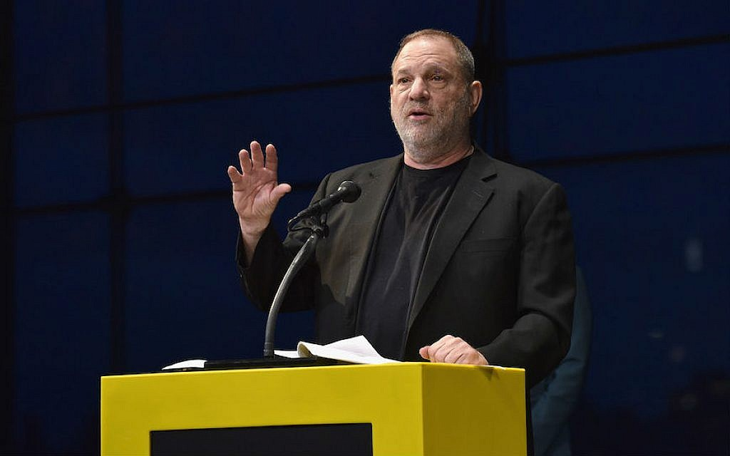 Harvey Weinstein speaking at National Geographic's Further Front Event at Jazz at Lincoln Center in New York City, April 19, 2017. (Bryan Bedder/Getty Images for National Geographic)