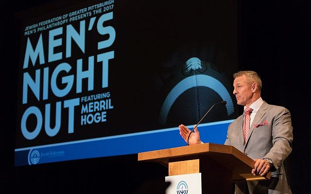 Former ESPN analyst and Pittsburgh Steeler Merril Hoge inspired men from across the community as he spoke about always finding a way to succeed. (Photo by Josh Franzos)
