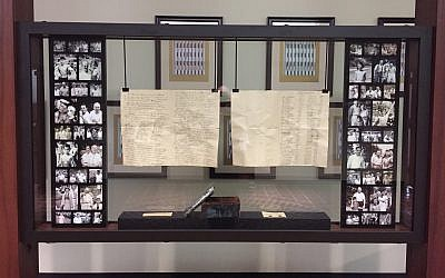 The contents of a 1926 time capsule are on display in the Tabor Reception Lobby. (Photo courtesy of Bonnie Gordon)
