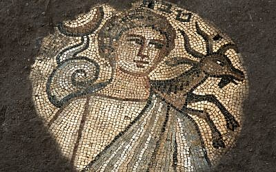 The mosaic Zodiac sign of Capricorn was one of the many discoveries at the fifth-century synagogue in Huqoq. (Photo by Jim Haberman, courtesy of Jodi Magness.)