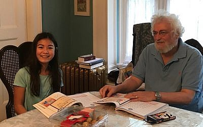 "Hanna Pretter studies with Rabbi Chuck as part of Kehillah La La's ""One on One with the Rabbi."" (Photo courtesy of Rabbi Chuck Diamond)"