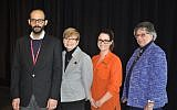 Eric Lidji, Rabbi Barbara Aiello, Melissa Marinaro and Kathleen Vescio Rosella, pose for a photo at the Heinz History Center. (Photo by Adam Reinherz)