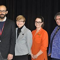 Eric Lidji, Rabbi Barbara Aiello, Melissa Marinaro and Kathleen Vescio Rosella, pose for a photo at the Heinz History Center. (Photo by Adam Reinherz)