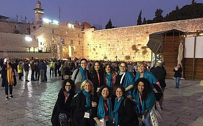 Pittsburgh's participants are all smiles as they pose for a group photo at the Western Wall. (Photo courtesy of Adrienne Indianer)