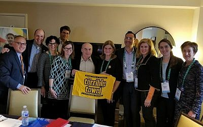 Israeli activist and author Natan Sharansky joins the Pittsburgh contingent in displaying hometown pride. (Photo provided by Jeff Finkelstein)