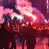 Some of the tens of thousands of nationalists who marched through Warsaw, Nov. 11, 2017. (Jakob Ratz/Pacific Press/LightRocket via Getty Images)
