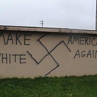 Nazi-themed graffiti was found in the town of Wellsville, N.Y., the same day Donald Trump won the presidential election, Nov. 9, 2016. (Photo from Twitter)