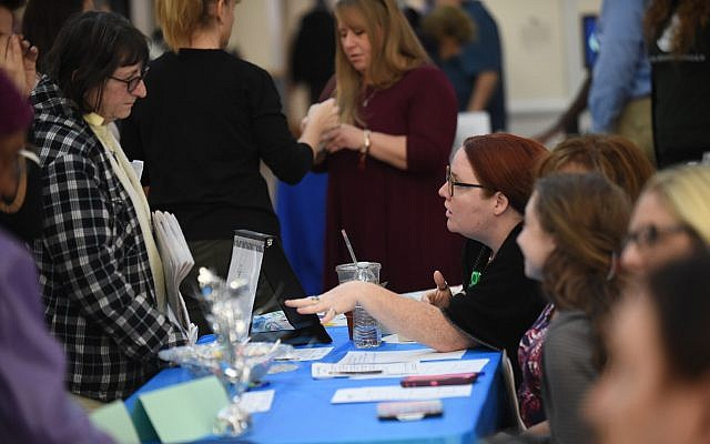 The health-screening table at JCC's Health and Wellness Day. (Photo courtesy of Jewish Community Center of Greater Pittsburgh)