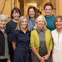 Past and current co-chairs of the Jewish Women's Foundation: front row: Marsha Marcus, Carolyn Hess Abraham, Fern Schwartz; missing Kathy DiBiase, Pat Siger and Hilary Tyson. (Photo courtesy of Judy Greenwald Cohen)