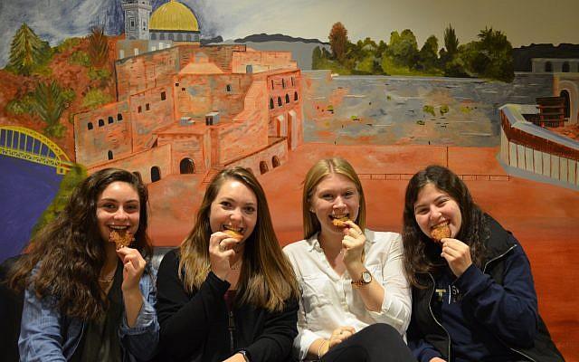 From left: Serena Mlawsky, Caroline Nesbit, Livy Mackey and Shira Hackman. (Photo courtesy of Hillel Jewish University Center)