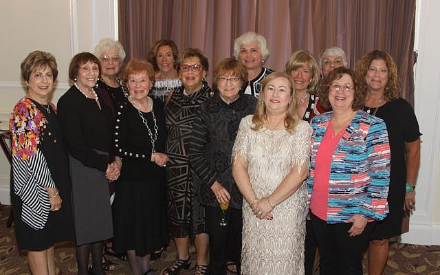 From left: Hadassah Greater Pittsburgh past presidents Zandra Goldberg, Nancy Shuman, Mimi Ginsberg, Sondra Glasser, Bernice Meyers, Janice Greenwald, Bobbee Slotsky Kramer, Judy Palkovitz, Marlene Silverman, Roz Markovitz, Barbara Scheinberg, and Lynda Heyman and current president Rochelle Parker. (Photo courtesy of Hadassah Greater Pittsburgh)