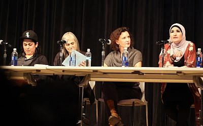 Linda Sarsour speaks about anti-Semitism at a panel at the New School in New York. Other panelists, from left, include Lina Morales, Amy Goodman and Rebecca Vilkomerson. (Photo courtesy of Jewish Voice for Peace)