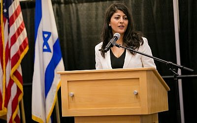 Lian Najami speaks at an Israeli Independence Day student gala at Boston University, in Boston. (Photo by Nir Landau for Combined Jewish Philanthropies)