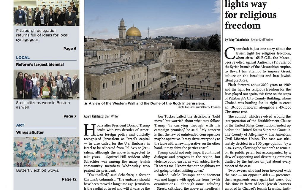 Pittsburgh Jewish Chronicle 12/15/2017