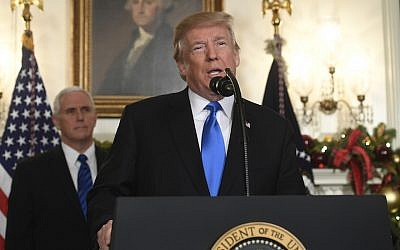 President Donald Trump delivering a statement on Jerusalem from the White House as Vice President Mike Pence looks on, Dec. 6, 2017. ( Photo by Saul Loeb/AFP/Getty Images)