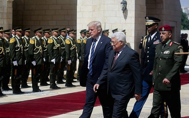 Donald Trump and Palestinian Authority President Mahmoud Abbas in the West Bank city of Bethlehem, May 23, 2017. (Photo courtesy of Flash90)