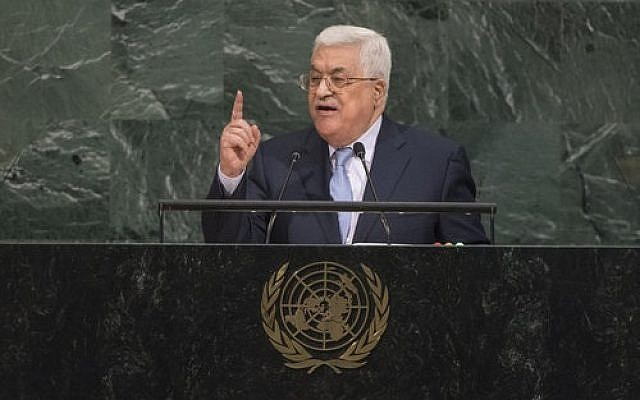 Palestinian Authority President Mahmoud Abbas addresses the general debate of the United Nations General Assembly on Sept. 20, 2017. (Photo by Cia Pak / U.N. Photo)