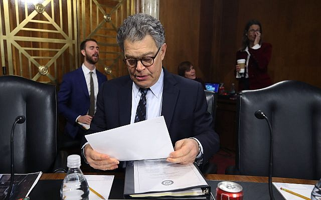Sen. Al Franken speaks at a Capitol Hill committee hearing on hurricane recovery efforts in Puerto Rico. (Photo by Mark Wilson / Getty Images)