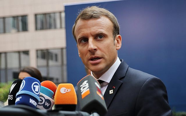 French president Emmanuel Macron speaks to the press at an EU meeting in Brussels. (Photo by Dan Kitwood / Getty Images)
