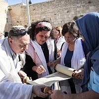 Members of the Reform movement and Hebrew Union College read from the Torah at the public square in front of the Western Wall. (Photo by Noam Rivkin Fenton / Flash90)