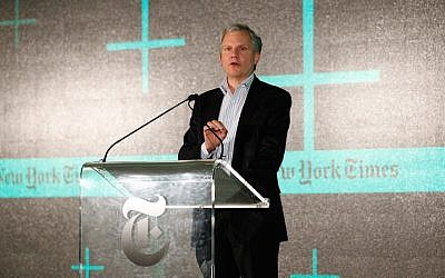 Publisher Arthur Ochs Sulzberger Jr. speaking at The New York Times' New Work Summit in Half Moon Bay, Calif., Feb. 29, 2016. (Photo by Kimberly White/Getty Images for New York Times)