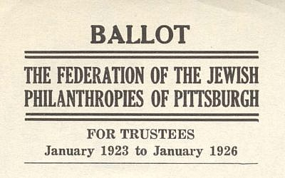 This ballot from 1923 reveals many insights into the area's Jewish history. (Photo courtesy of the Rauh Jewish History Program & Archives at the Sen. John Heinz History Center)