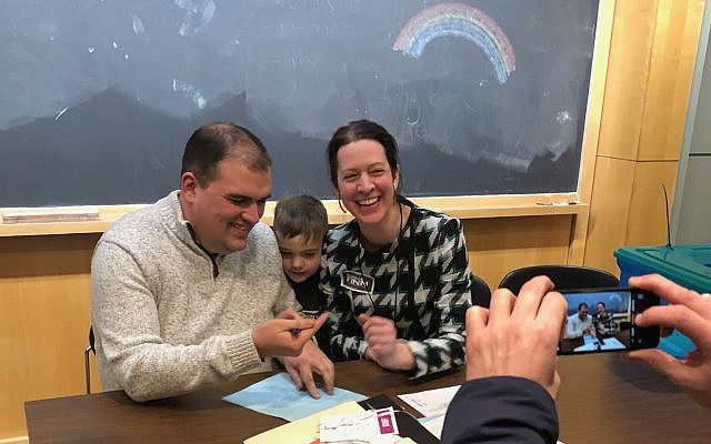 DJ Ryan, executive director of the Allegheny County Democratic Committee, poses with Sonja Finn and her son Miles. (Photo courtesy of Sonja Finn)