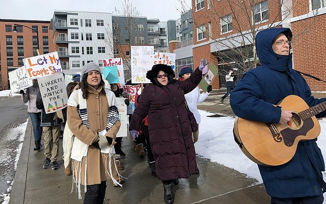 The group of 70 protesters marched toward Pittsburgh's Department of Homeland Security, singing and chanting as they went. (Photo by Lauren Rosenblatt)