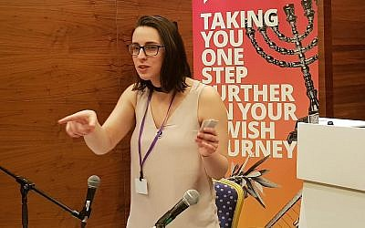 Florence Schechter showcases her museum idea at a Limmud Festival in Birmingham, England, Dec. 28, 2017.  (Photo by Cnaan Liphshiz)