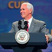 Vice President Mike Pence speaks July 7 2017 at the Christians United for Israel conference in Washington DC. (Photo courtesy of CUFI)